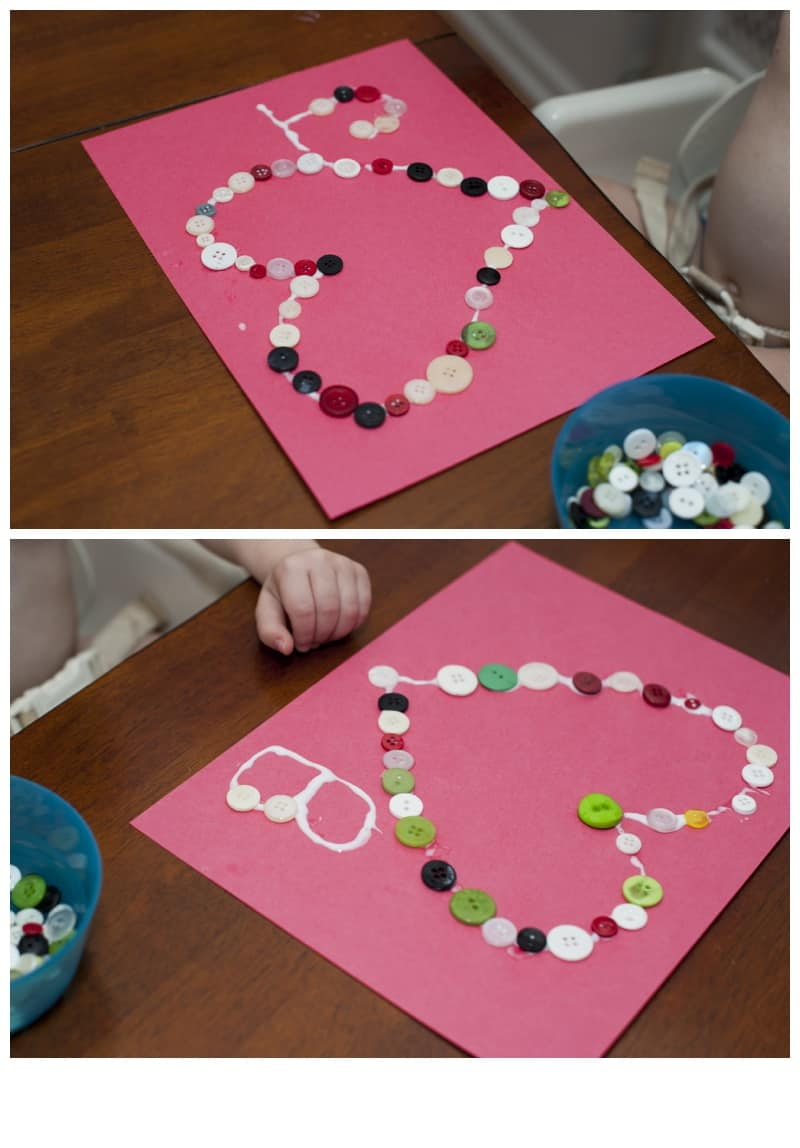 Easy Valentine Craft - Glue Buttons in the Shape of a Heart