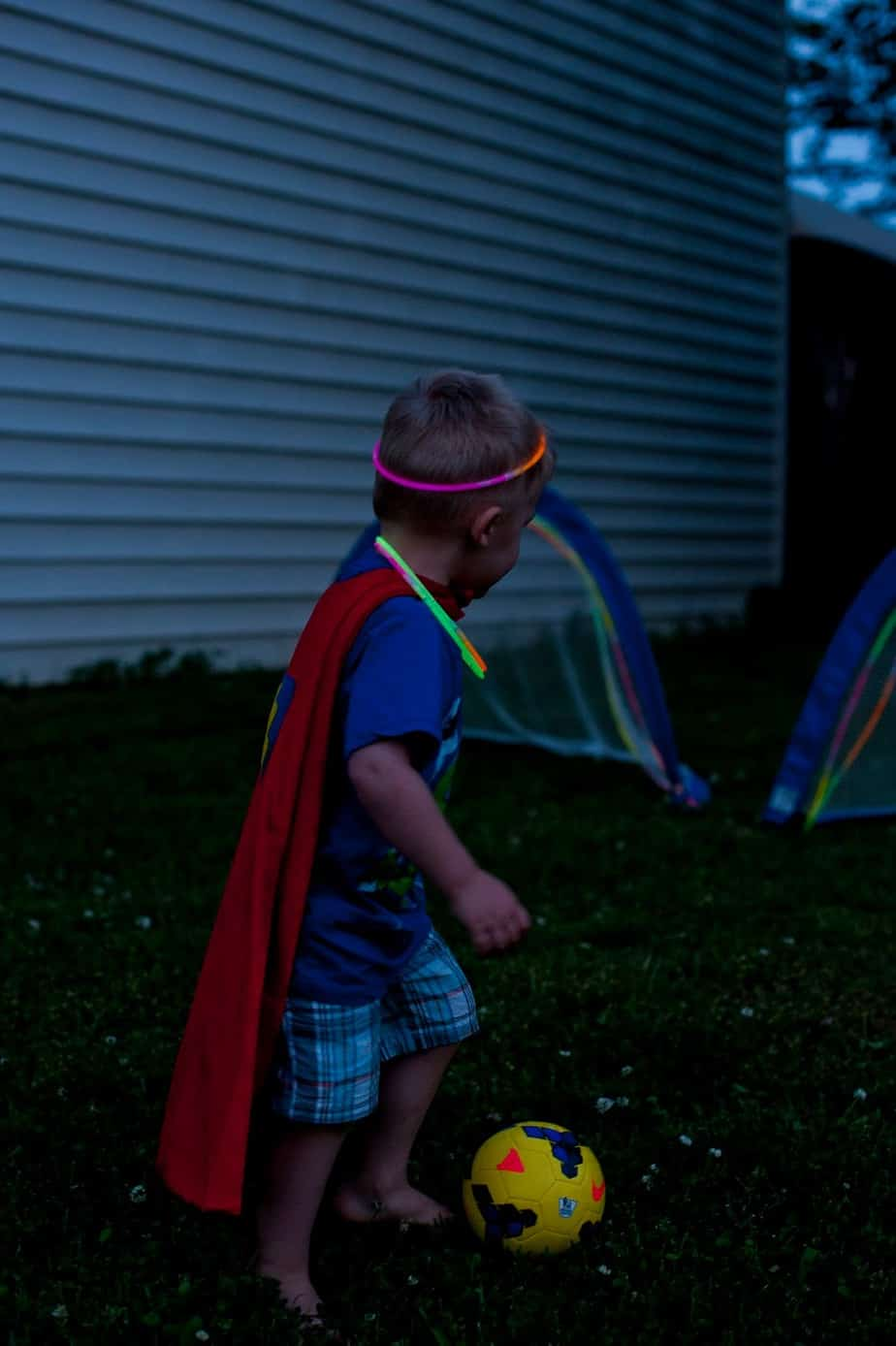 Super Hero Soccer - Fun with Glow Sticks - Soccer Goal