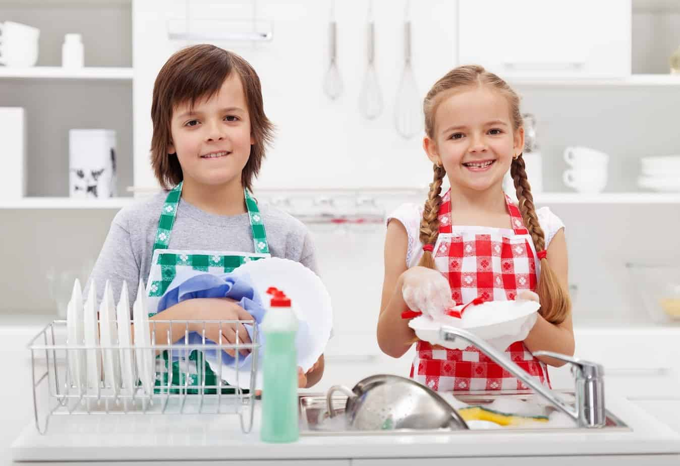 Purposeful Parenting - Children Working Together Washing Dishes - Cause and Effect
