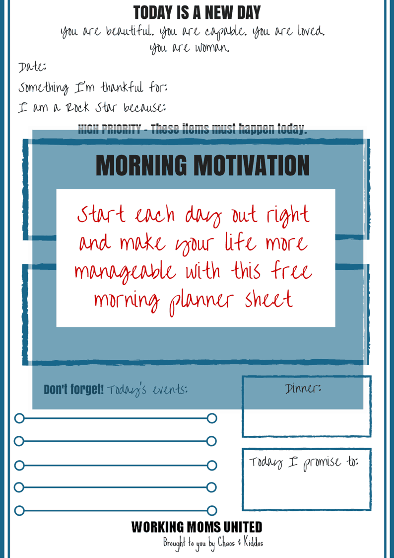 Morning Motivation | Planner Worksheet | Working Moms Unite
